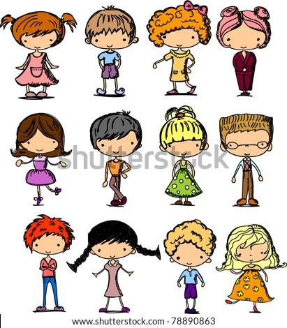 cartoon drawings of children - stock vector