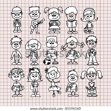 cartoon drawings of children