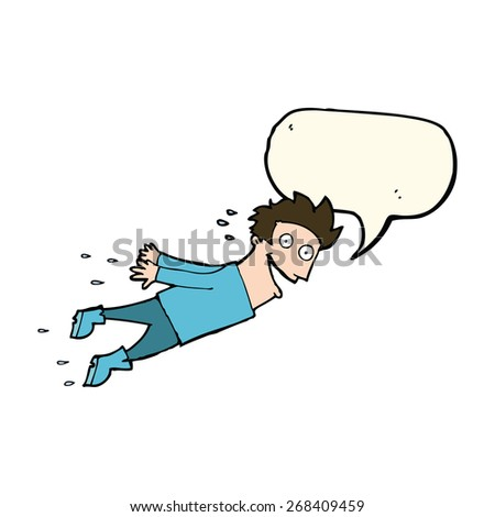 cartoon drenched man flying with speech bubble - stock vector