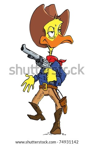 Cartoon duck cowboy with a gun belt. Isolated on white
