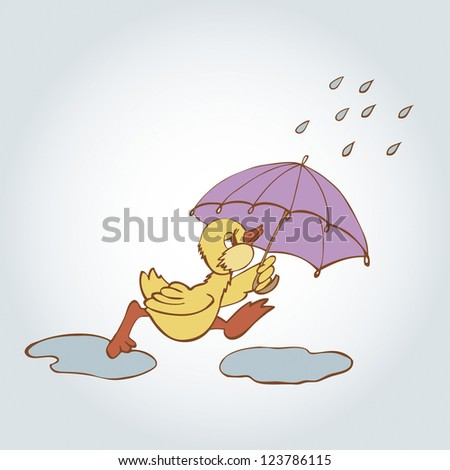 cartoon duck in the rain - stock vector