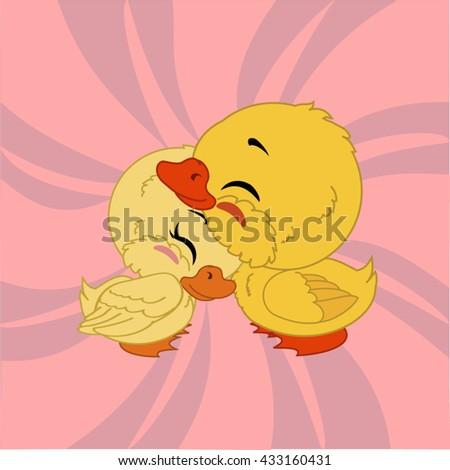 Cartoon ducks with pink background. - stock vector