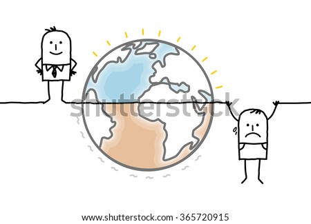cartoon Earth and humans divided into two unequal parts - stock vector