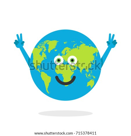 cartoon earth character world map globe with smiley face and hands vector illustration