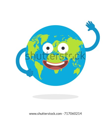Cartoon earth character world map globe stock vector 717060214 cartoon earth character world map globe with smiley face and hands vector illustration sciox Images