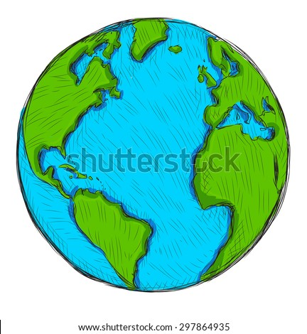Cartoon earth isolated on white background. Hand drawn vector illustration.