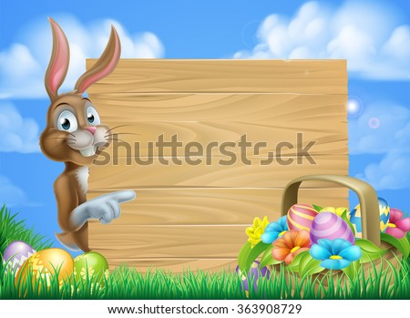 Cartoon Easter bunny and Easter basket full of Easter eggs background - stock vector