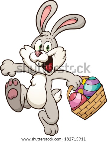 Cartoon Easter bunny jumping with egg basket. Vector clip art illustration with simple gradients. All in a single layer.  - stock vector