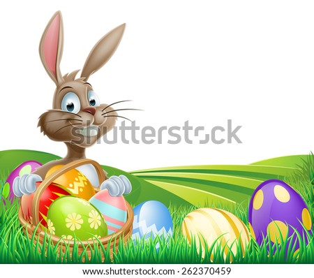 Cartoon Easter Bunny with a hamper of chocolate Easter eggs in a field with rolling hills - stock vector