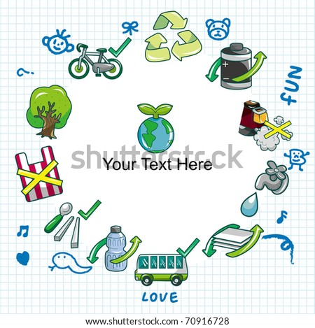 cartoon eco card - stock vector