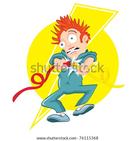Cartoon electrician getting electrocuted. Lightning bolt design behind