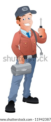 Cartoon Electrician Illustration - stock vector