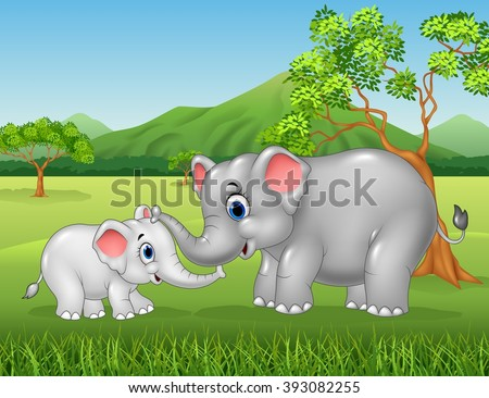 Cartoon elephant mother and calf bonding relationship in the jungle - stock vector