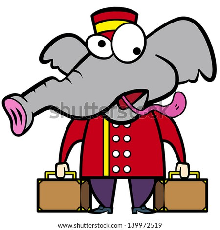 cartoon elephant porter with suitcases.