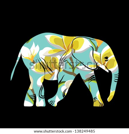 Cartoon elephant. The silhouette of the elephant collected from flower pattern. - stock vector