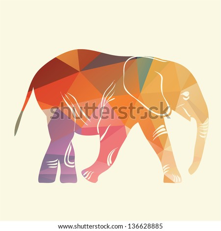 Cartoon elephant. The silhouette of the elephant collected from geometric. - stock vector
