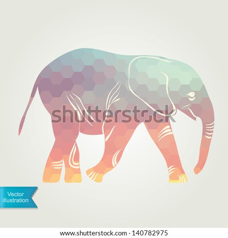 Cartoon elephant. The silhouette of the elephant collected from geometric pattern. - stock vector