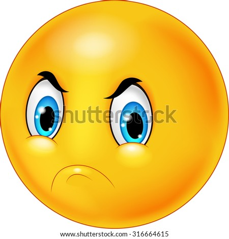 Cartoon emoticon with angry face - stock vector