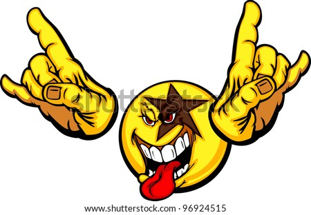 Cartoon Emoticon Yellow Face Rocking with Tongue Out and Hands in Rocker Pose - stock vector