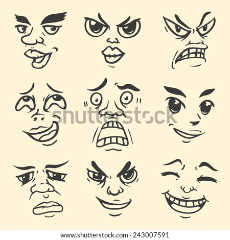 Cartoon Emotion Face - stock vector