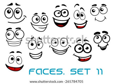 Cartoon emotional funny faces characters with cheerful, joyful and happy expressions suited for comic or childish decor design - stock vector
