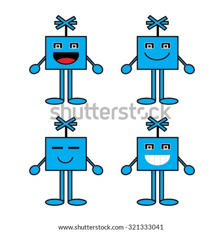 Cartoon emotions,Blue cartoon character he was happy he was glad he fulfill his smiling expression. - stock vector