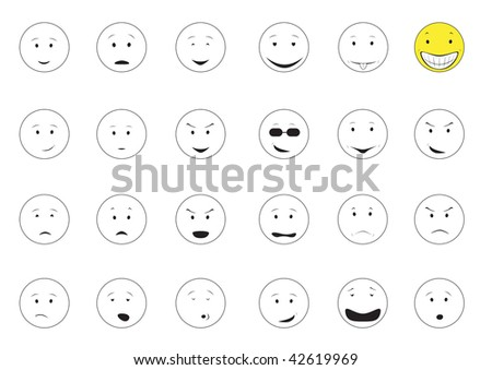 Cartoon emotions smiley isolated on the white background - stock vector