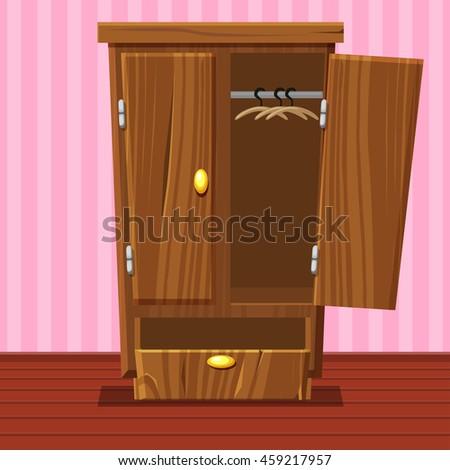 Cartoon Empty Open Wardrobe Living Room Stock Vector