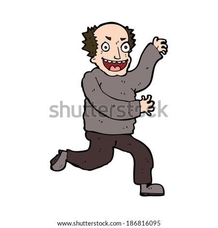 cartoon evil old man - stock vector