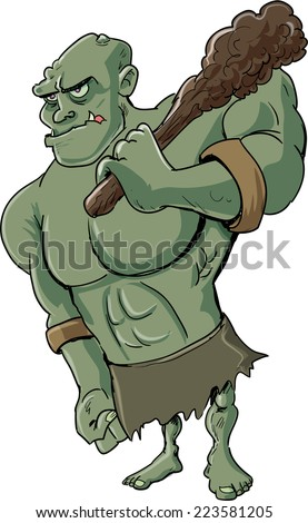 Cartoon evil troll, isolated on white - stock vector