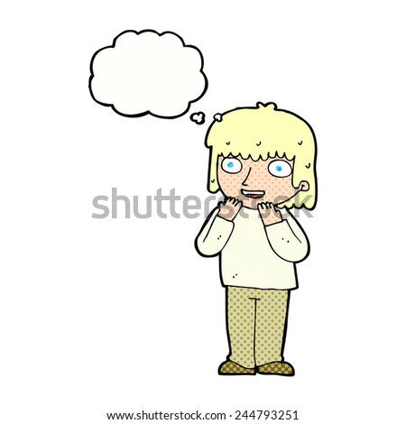 cartoon excited person with thought bubble - stock vector