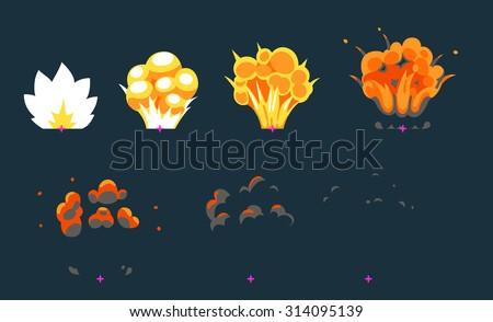 Cartoon explosion animation frames for game. Sprite sheet on dark background. - stock vector