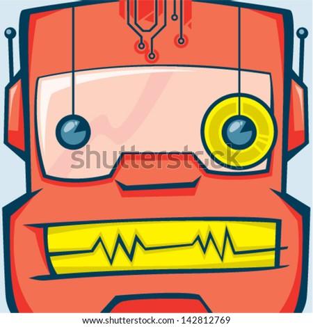 Cartoon expression robot - stock vector