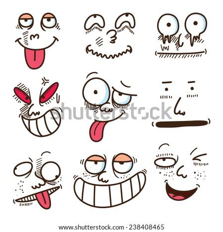 cartoon expressions set - stock vector
