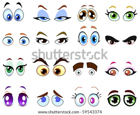 Cartoon eye set - stock vector
