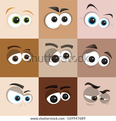 cartoon eyes - stock vector