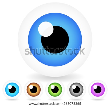 Cartoon Eyes in 6 Colors, Vector Illustration - stock vector