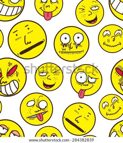 cartoon face seamless background - stock vector