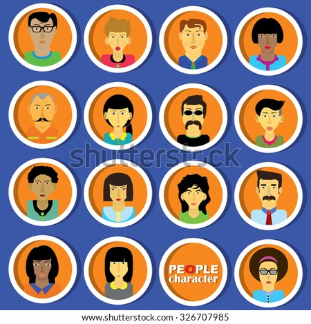 Cartoon face the people in the circle in the form of vector. - stock vector