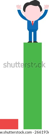 Cartoon faceless businessman standing hands raised on tall green bar beside low red bar - stock vector