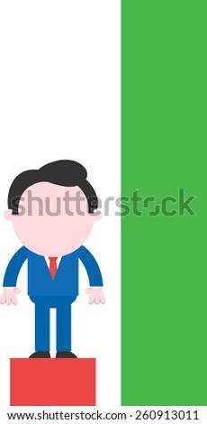 Cartoon faceless businessman standing on low red bar of chart beside tall green bar - stock vector