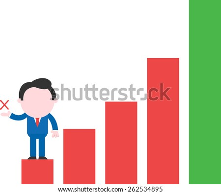 Cartoon faceless businessman standing on low rung showing x on red green bar chart - stock vector