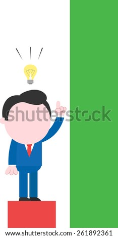 Cartoon faceless businessman with idea standing on low red bar beside tall green bar - stock vector