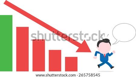 Cartoon faceless businessman with speech bubble running away from bar chart arrow down - stock vector