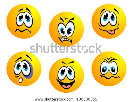 Cartoon faces. Jpeg version also available in gallery - stock vector