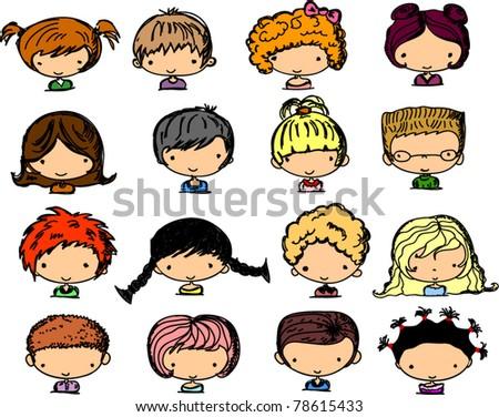 Cartoon faces of children - stock vector