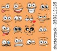Cartoon faces set - stock vector