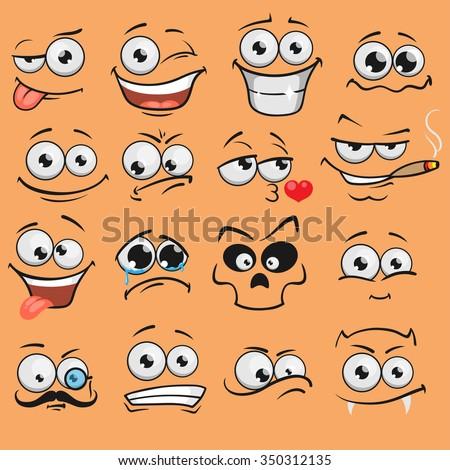 Cartoon faces set - stock vector