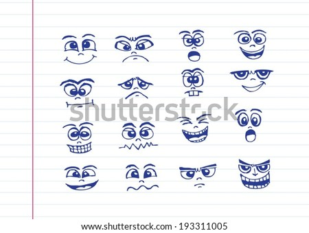 Cartoon faces Set hand drawing illustration - stock vector