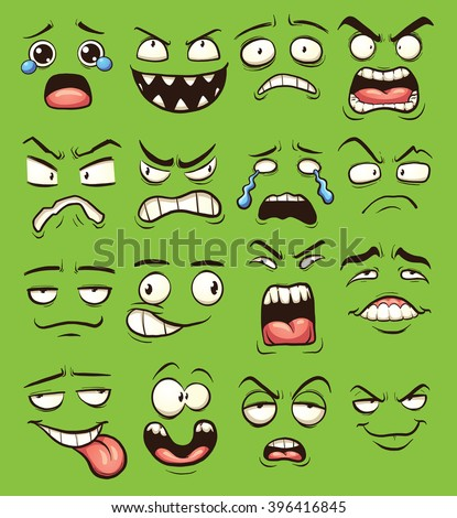 Cartoon faces. Vector clip art illustration with simple gradients. Each on a separate layer.  - stock vector